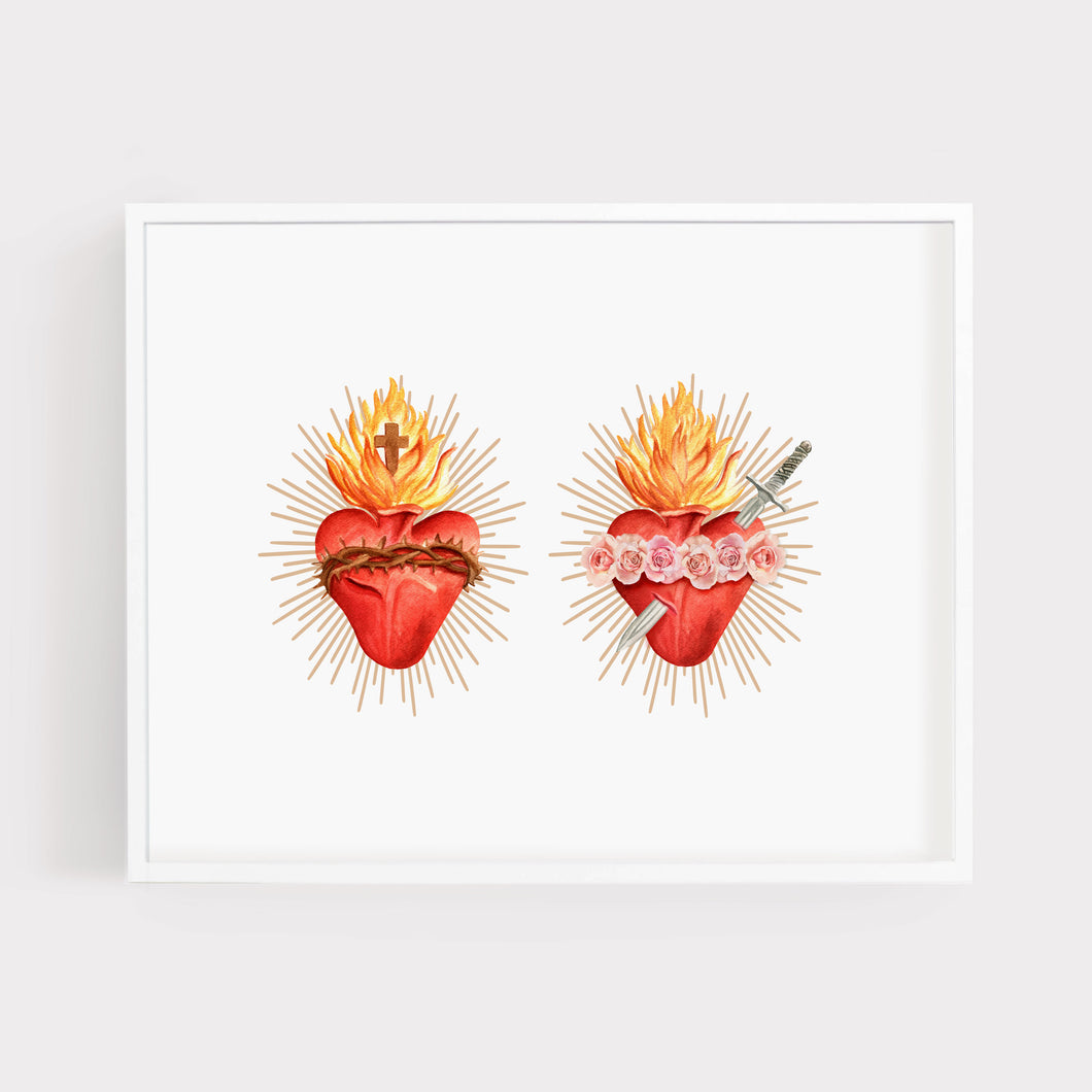 Sacred Heart of Jesus + Immaculate Heart of Mary | Art Print