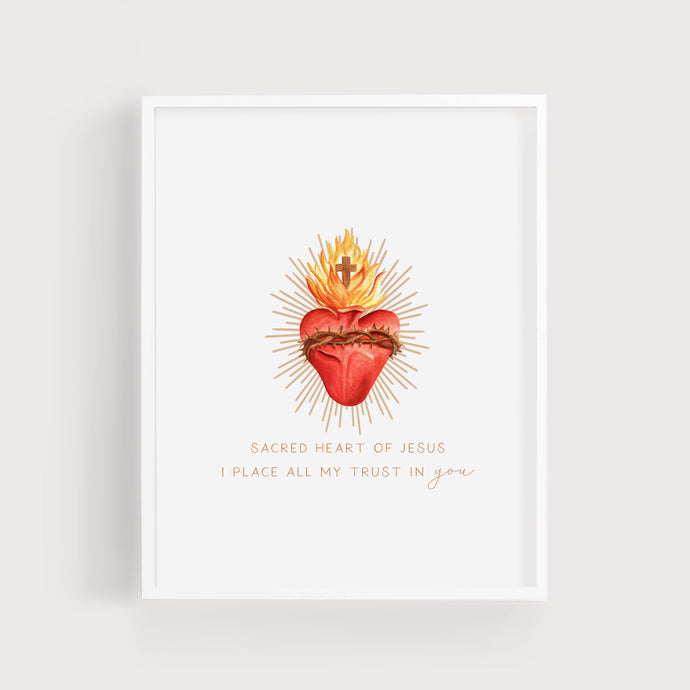 Sacred Heart of Jesus | I Place All My Trust in You | Art Print