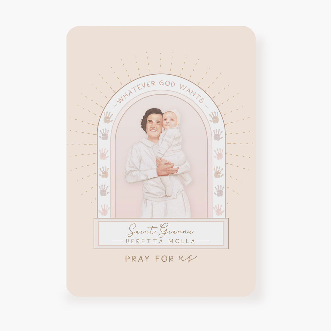 St. Gianna Beretta Molla Prayer Card | Beige