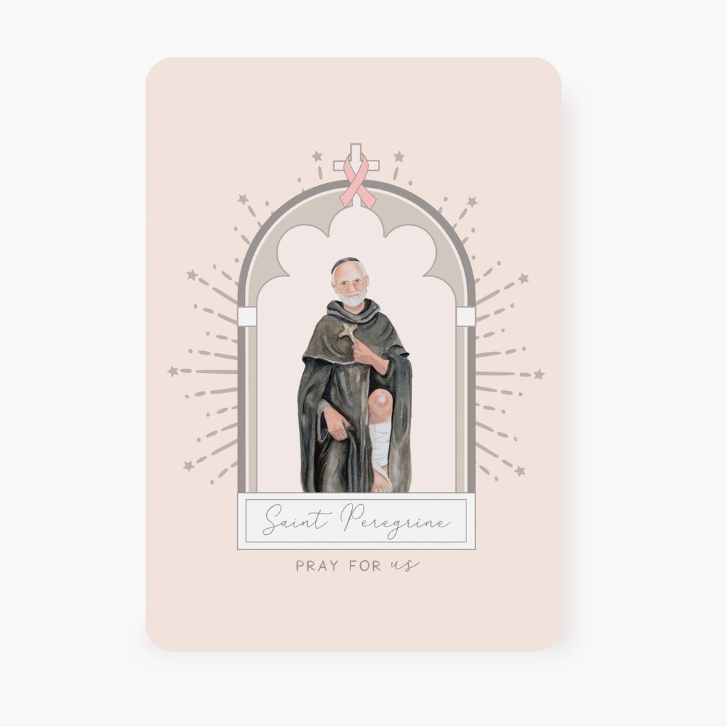 St. Peregrine Prayer Card | Pink Ribbon