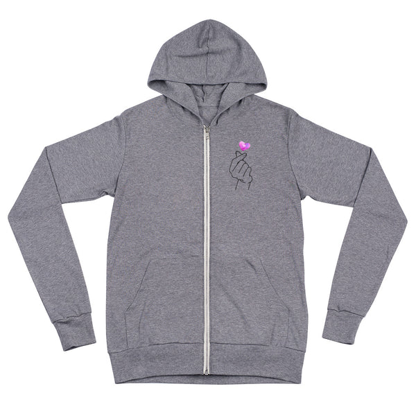 Lightweight Korean Heart Zip Hoodie