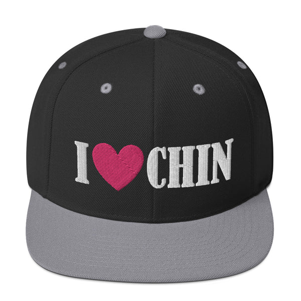 I Heart Chin Embroidered Snapback Cap