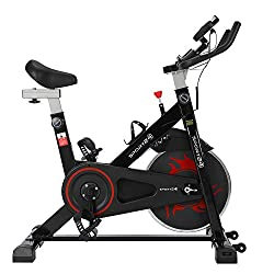 SPORT24 Stationary Upright Exercise Spinning Bike for Home Use, Pulse Sensor, LCD Multi-Function Monitor, Cardio Trainer, Indoor Fitness, Multi-Resistance Levels, Flywheel Bicycle, 2020 Edition