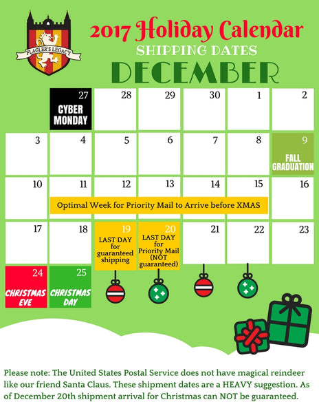 2017 Holiday Shipping Calendar