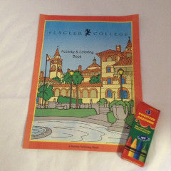 Flagler college coloring book with red, yellow, blue and green crayons