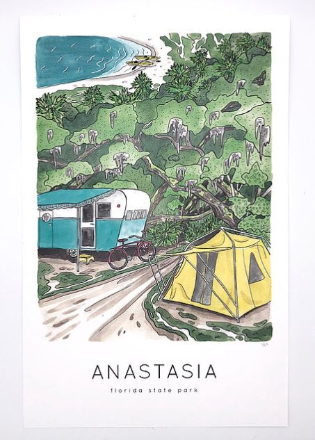 watercolor print of greenery near beach with a blue and white camper as well as a yellow tent. Anastasia Florida State Park printed in black under illustration