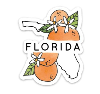Florida state with oranges sticker
