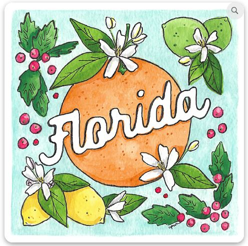 floral Florida sticker with oranges