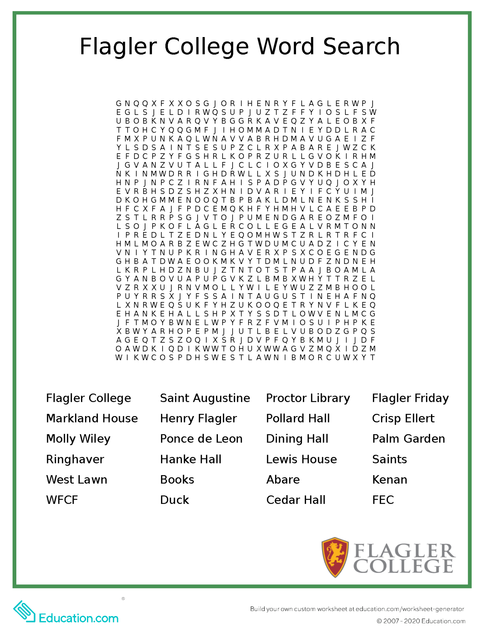 Flagler College Word Search