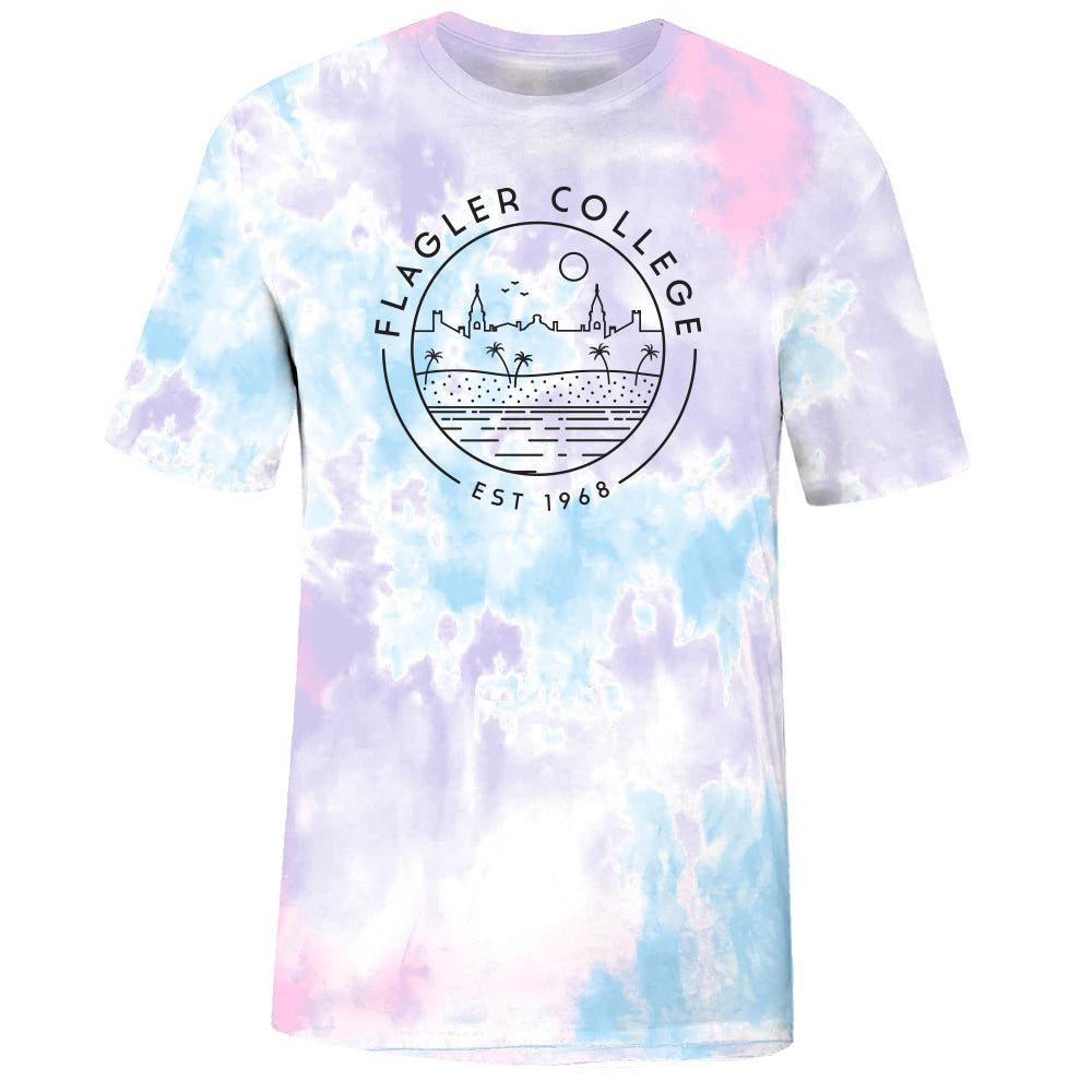 Tie dye t-shirt with Flagler College text