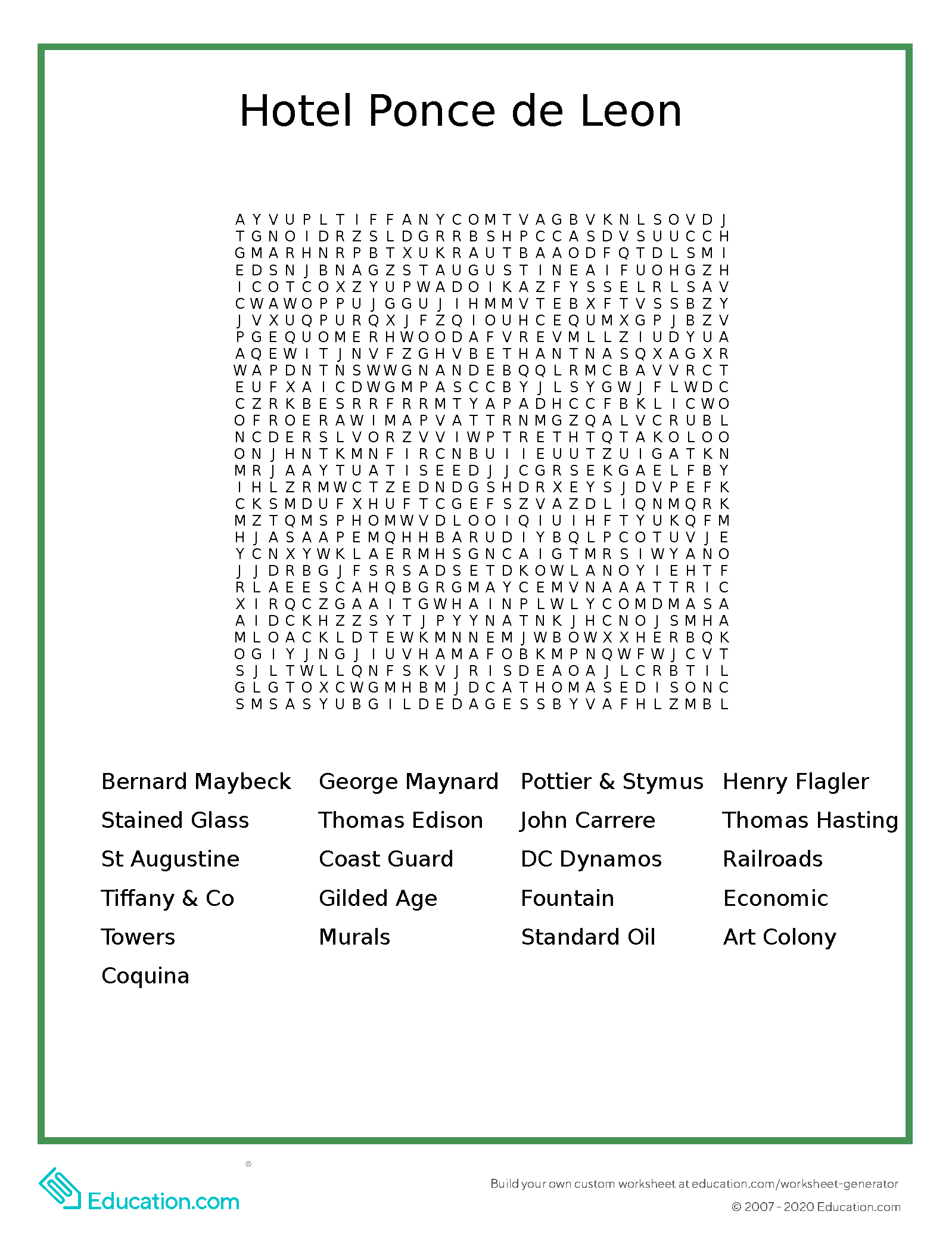 Hotel Ponce de Leon Word Search