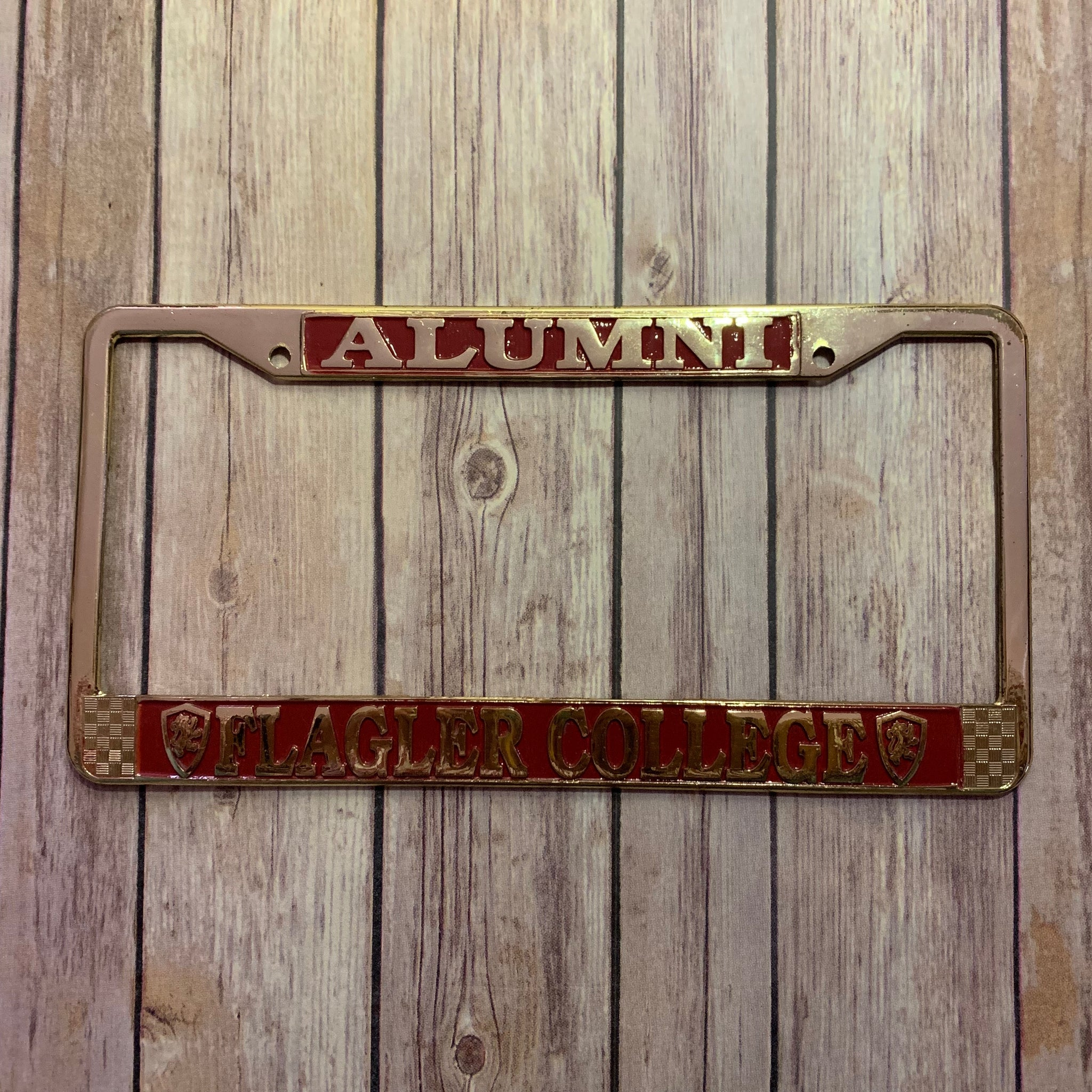 Metal License Plate Frame - Alumni Gold