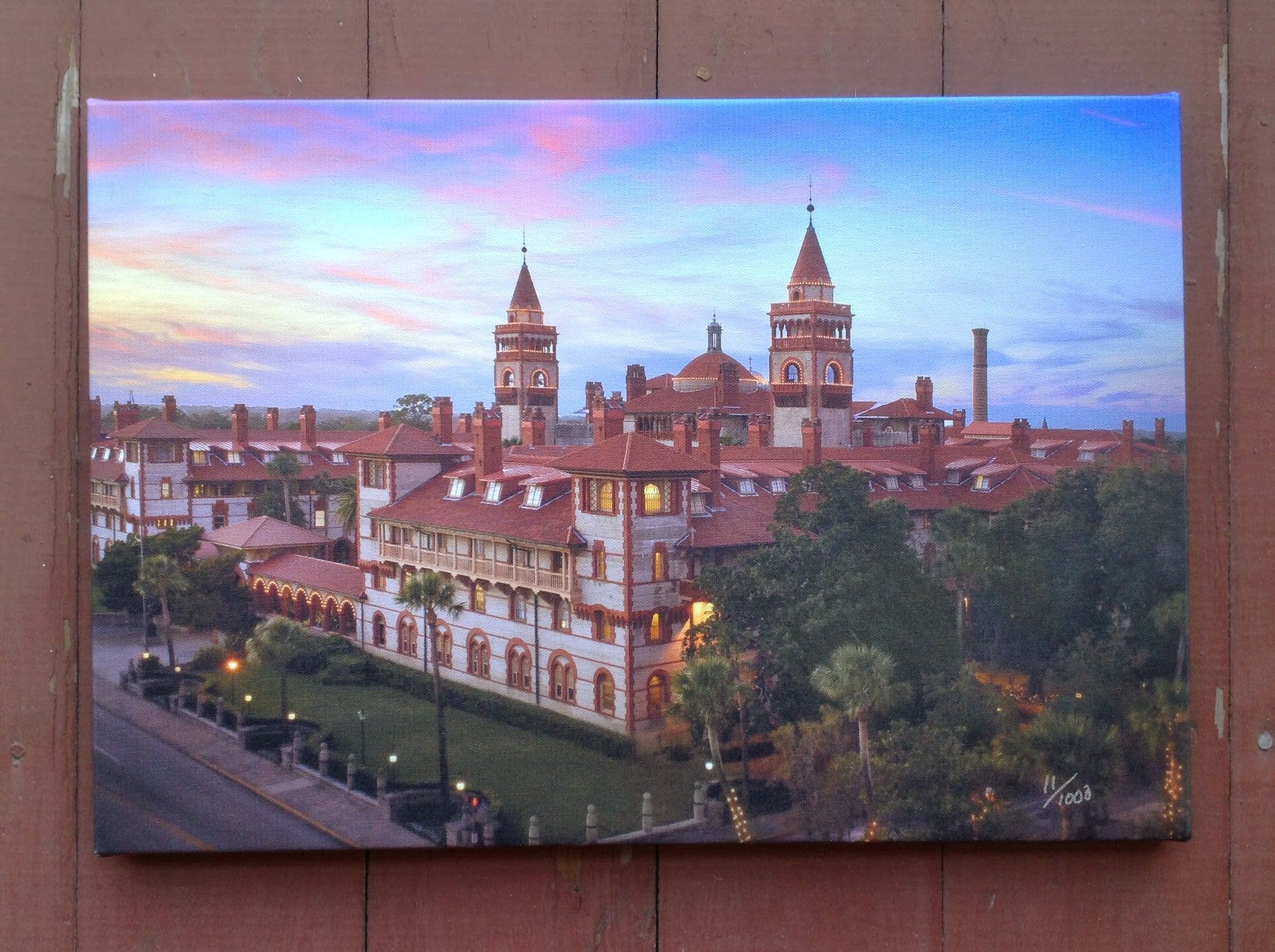 Flagler college pictured at sunset on a canvas.