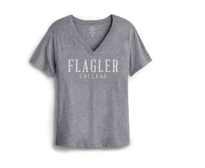 Ladies Flagler College Grey V-Neck