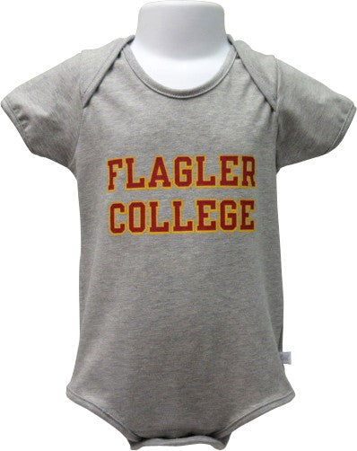 Gray onesie with Flagler College text