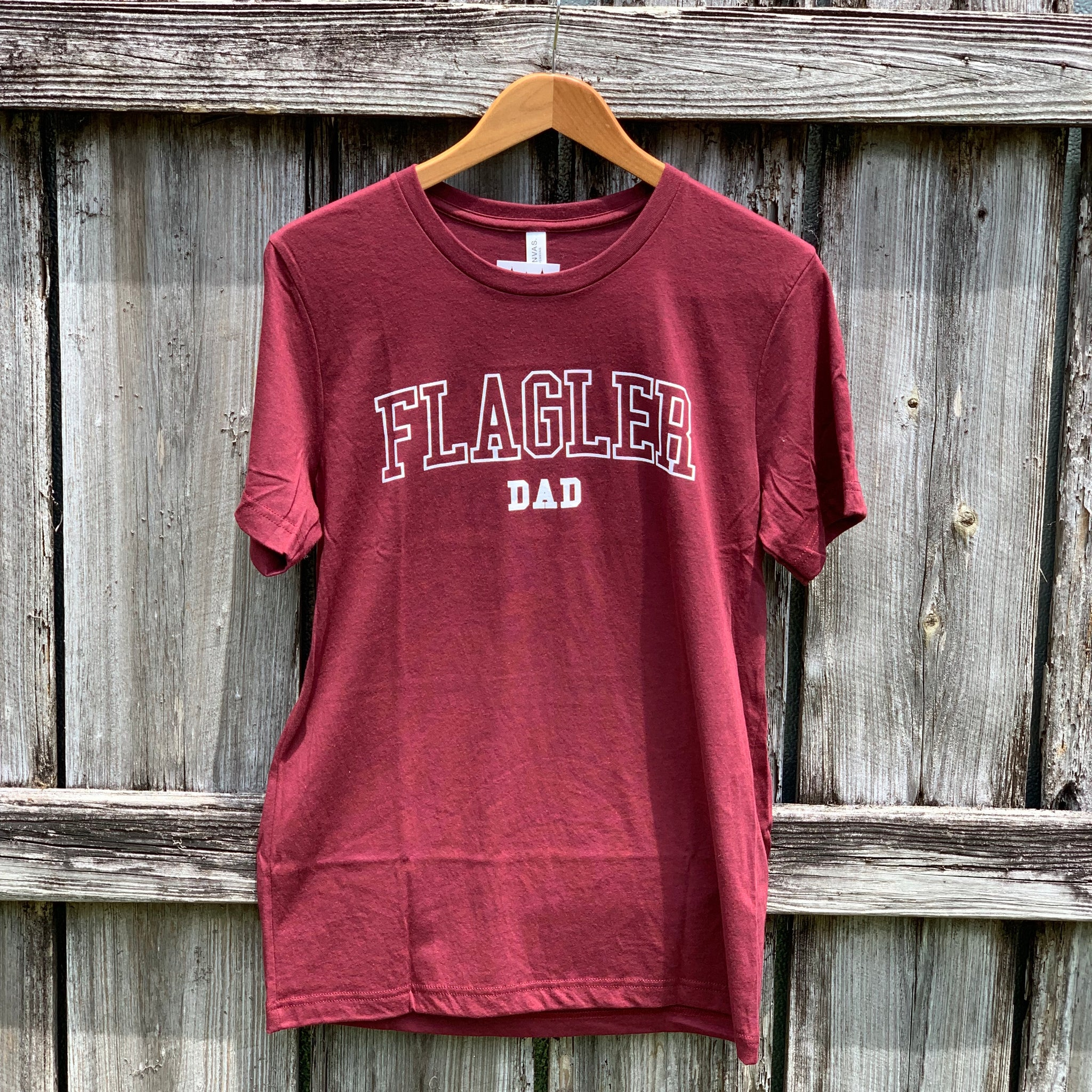red t-shirt with Flagler dad printed in white