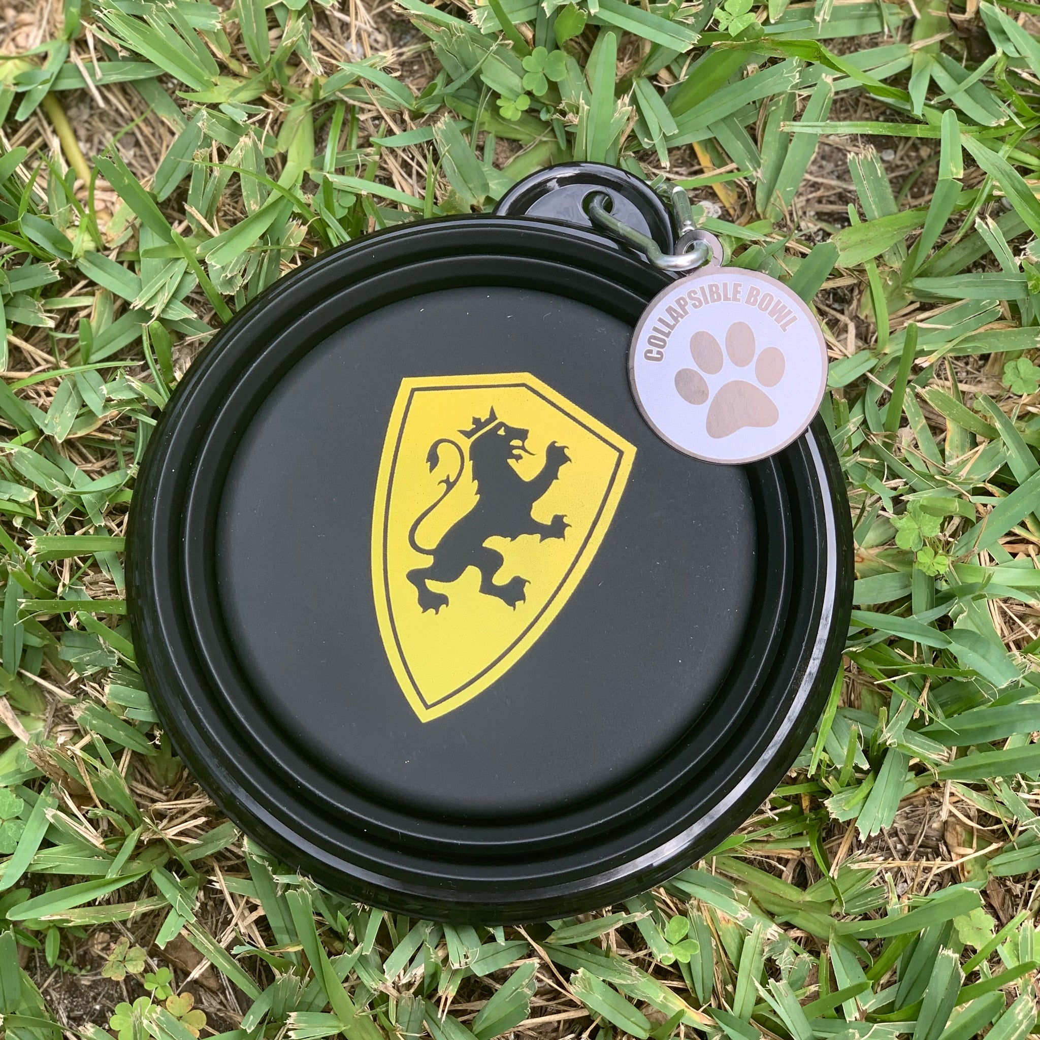 Collapsible water bowl with gold shield