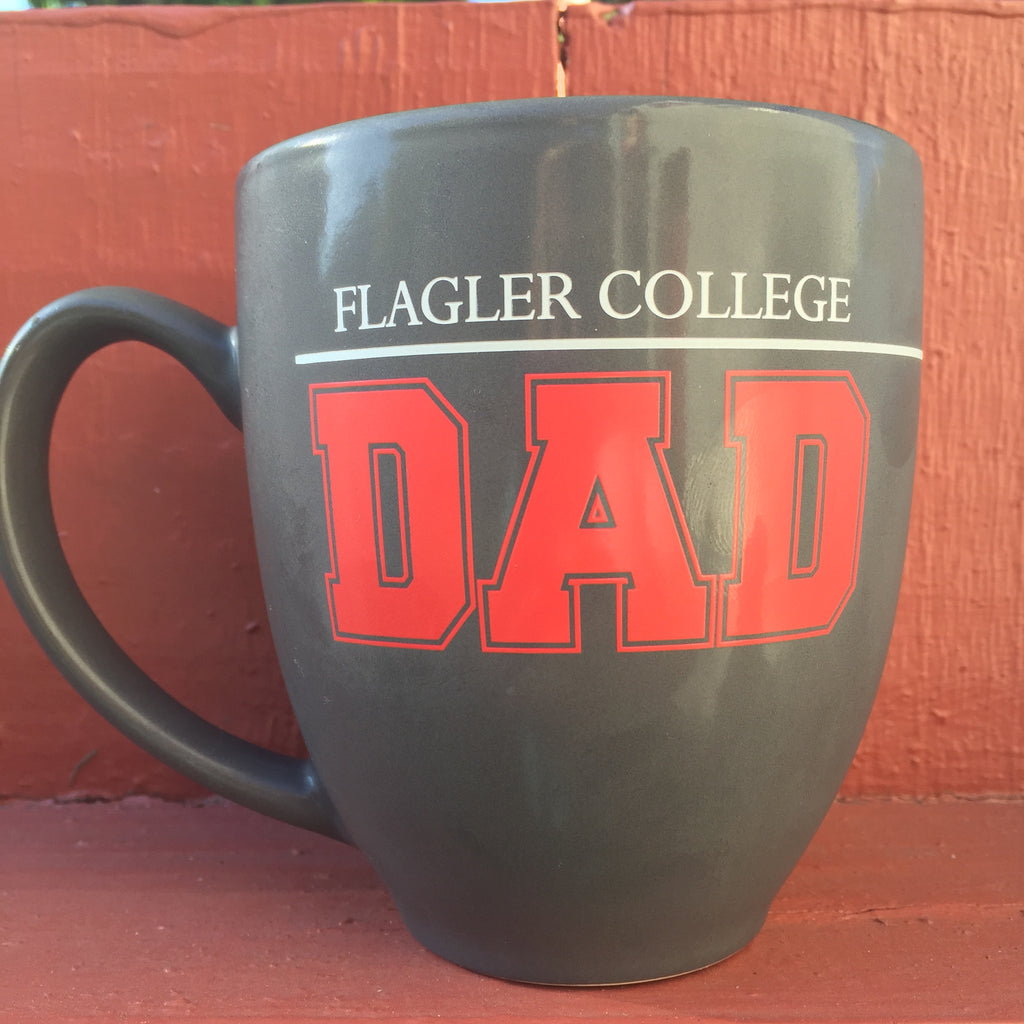 12 oz coffee mug with white and crimson imprint of Flagler College Dad