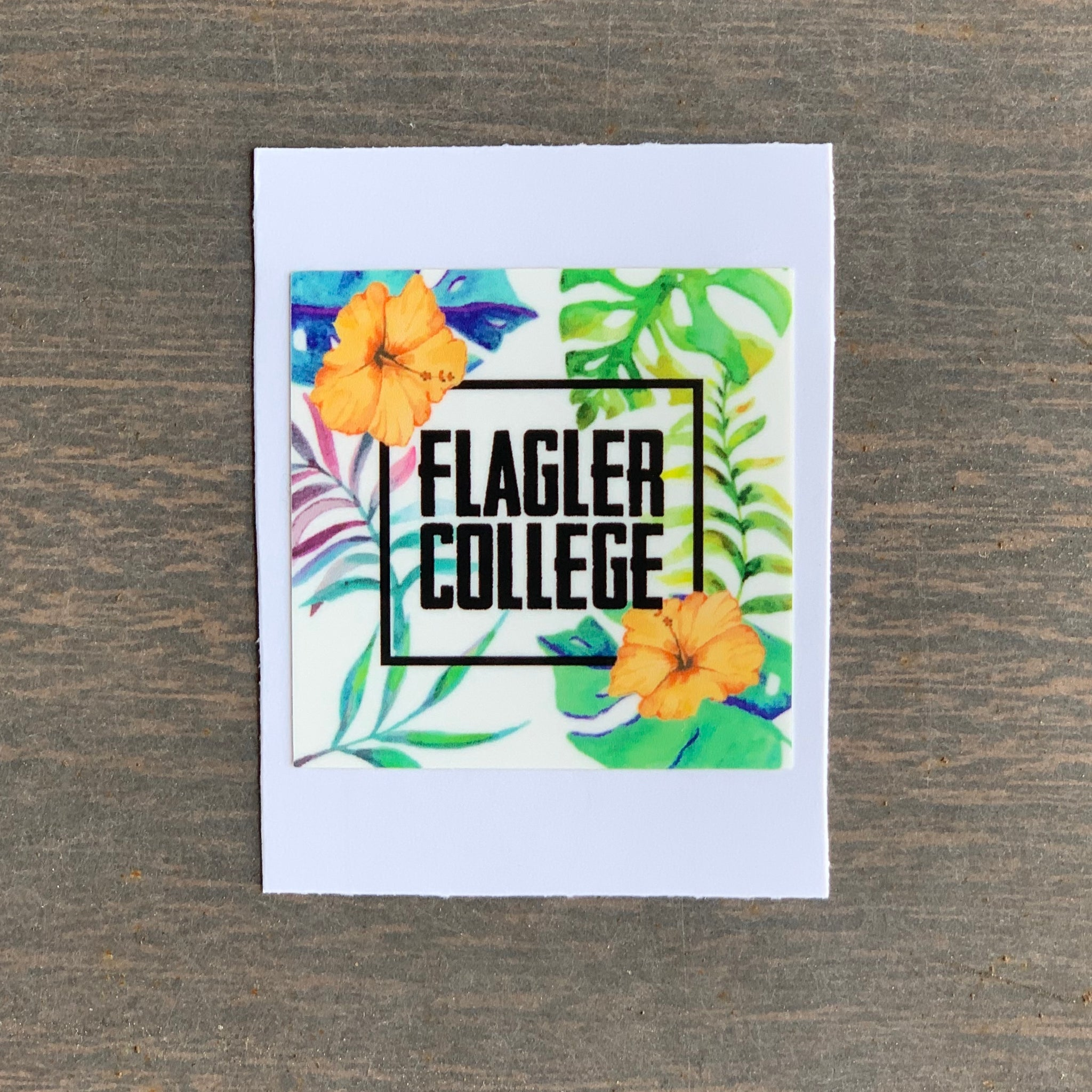 Mini Floral Flagler College Square Sticker