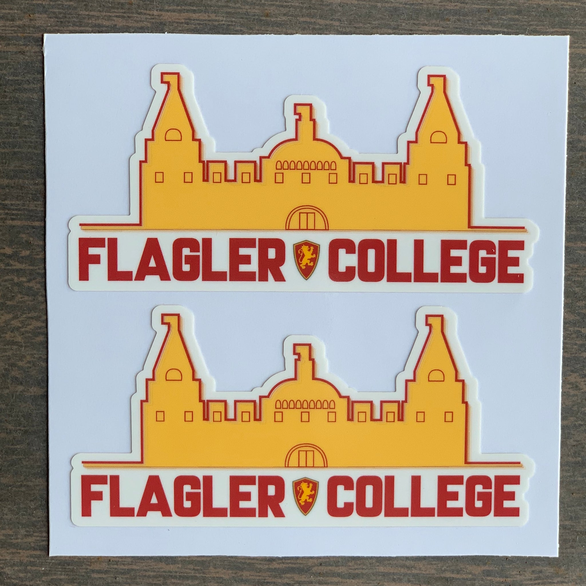 red and yellow Flagler college building sticker