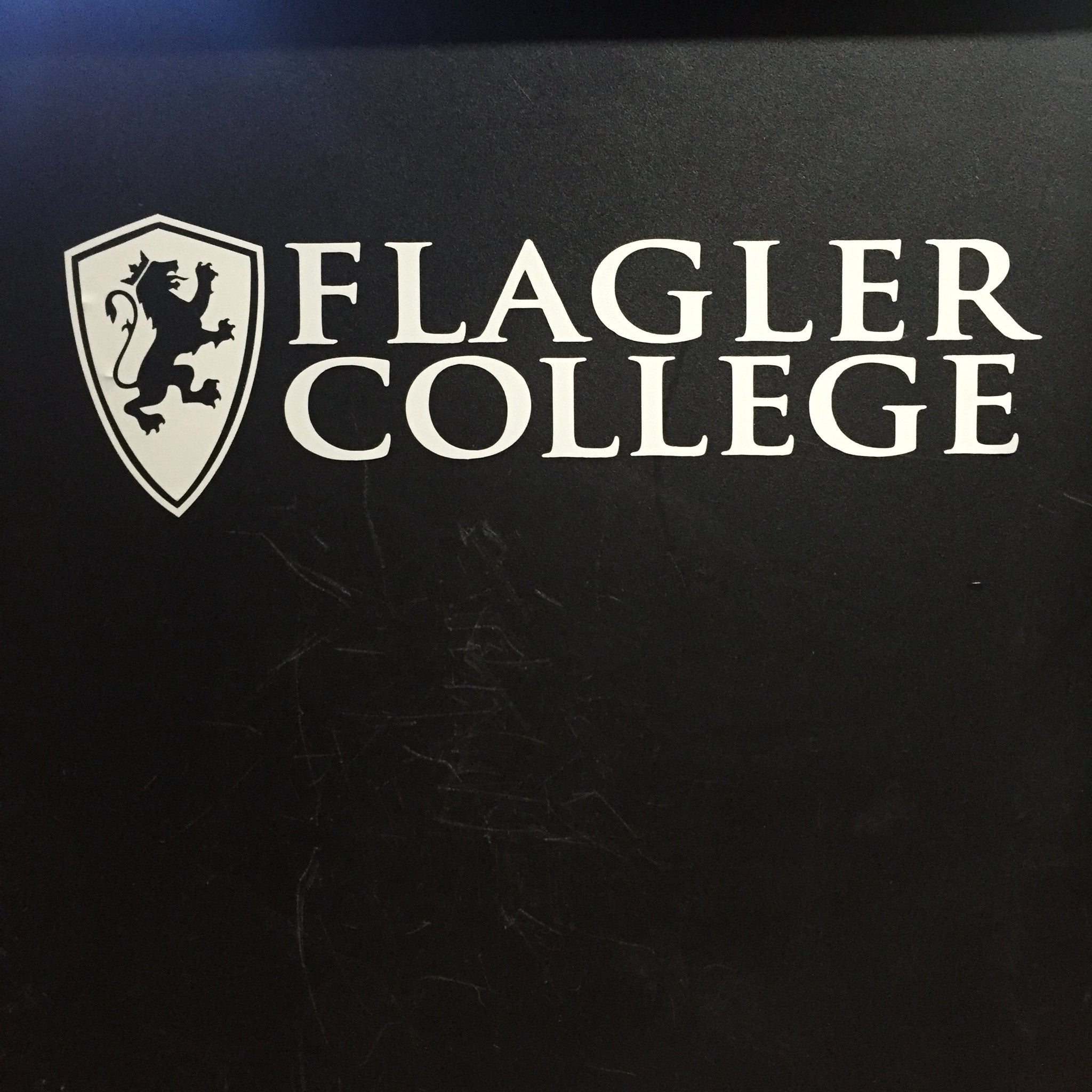 White Flagler college and shield decal