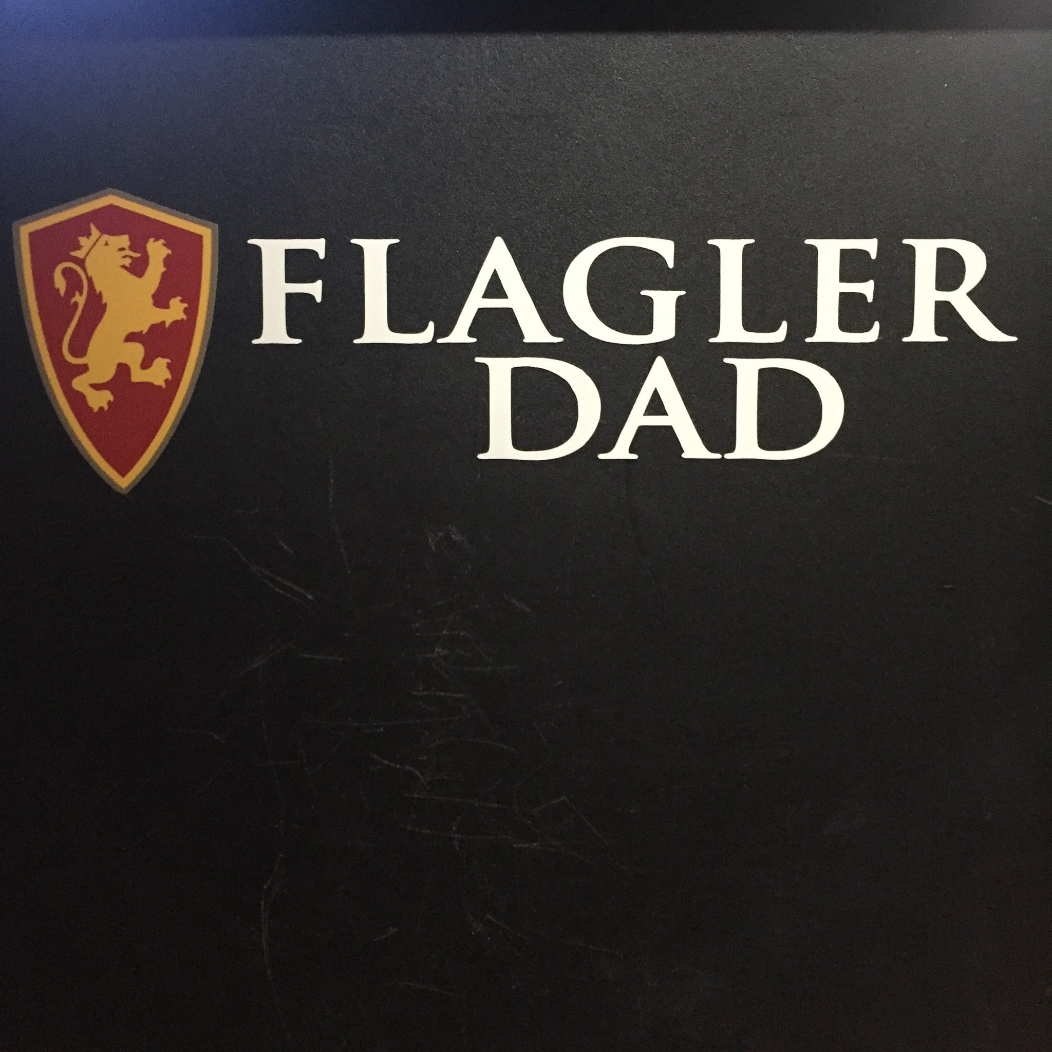 full color shield and Flagler Dad in white decal