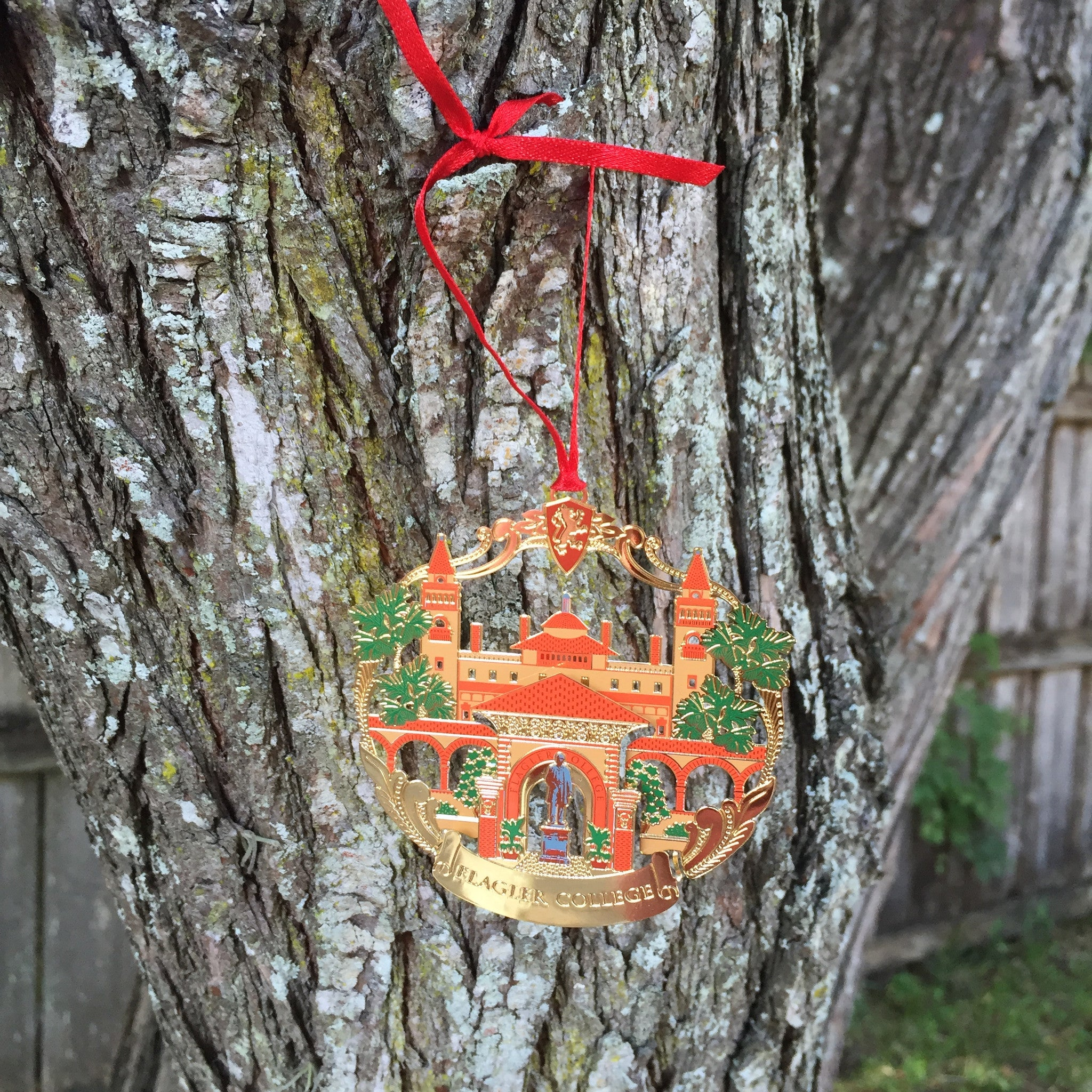 Gold Finished Flagler College Ornament