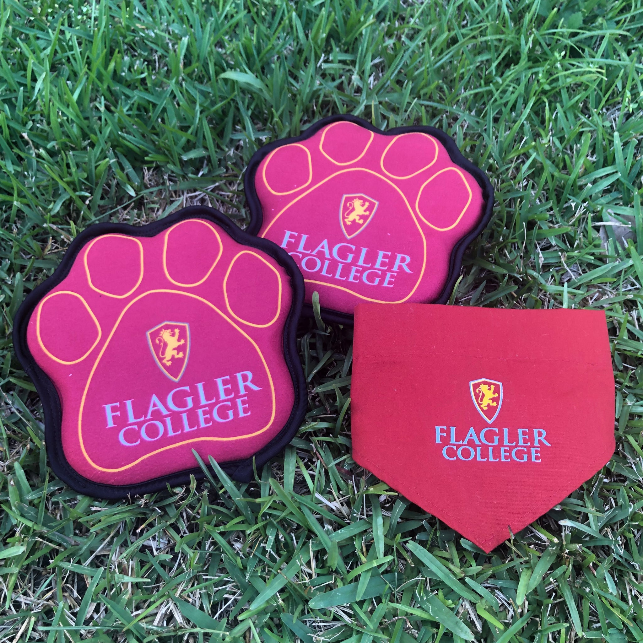 red and gold dog paw toy with Flagler college printed in white and shield printed in gold and red