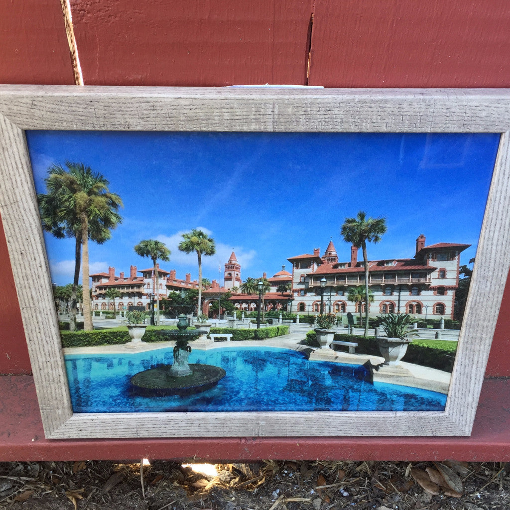framed building print