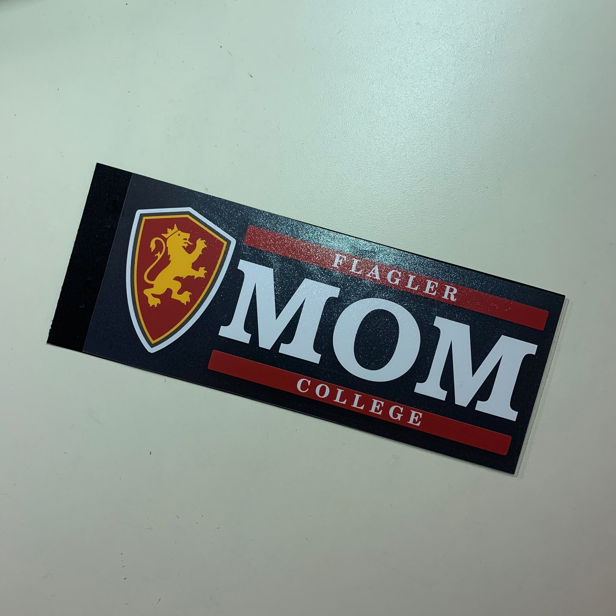 Flagler college mom with full color shield bar decal