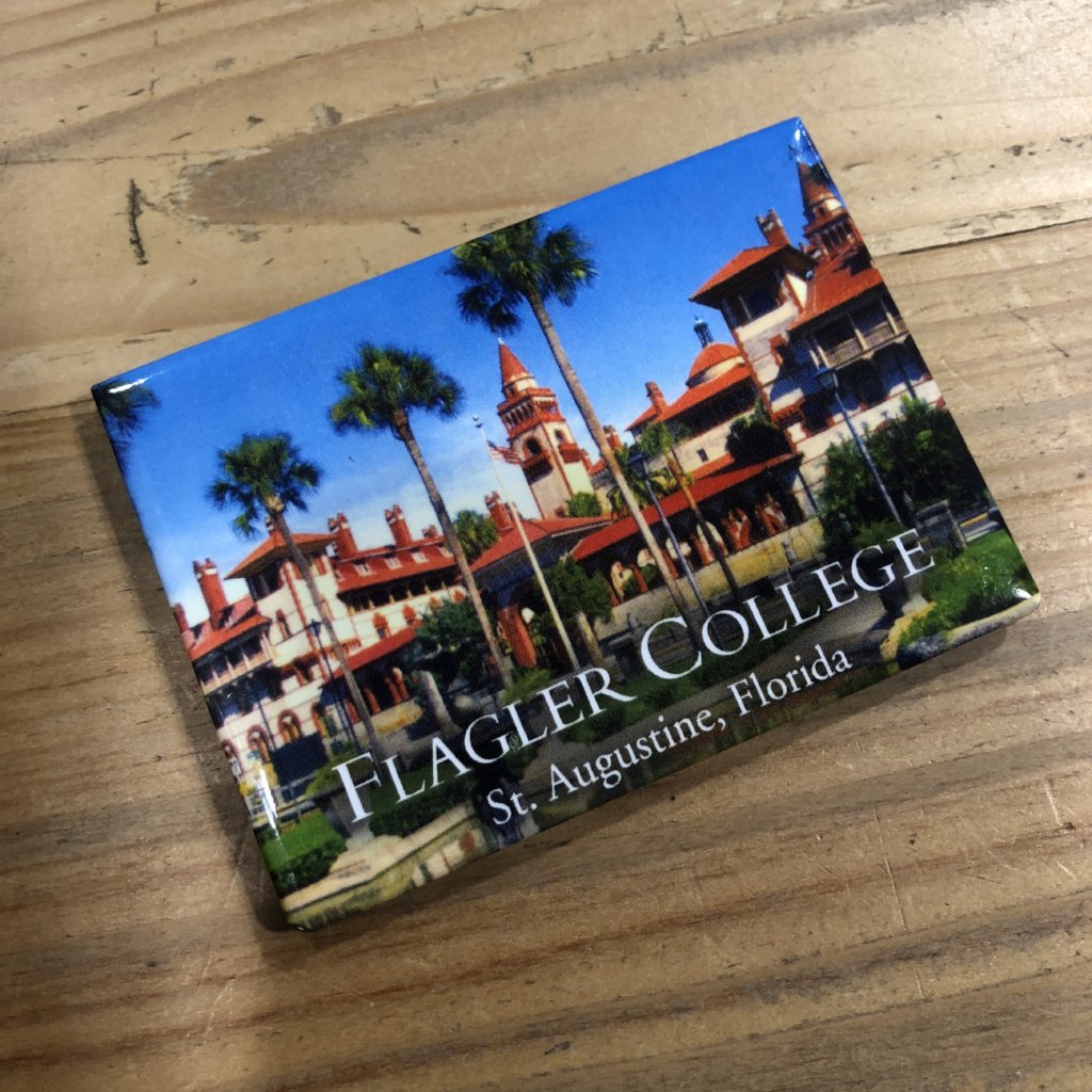 picture of Flagler college printed on flat magnet