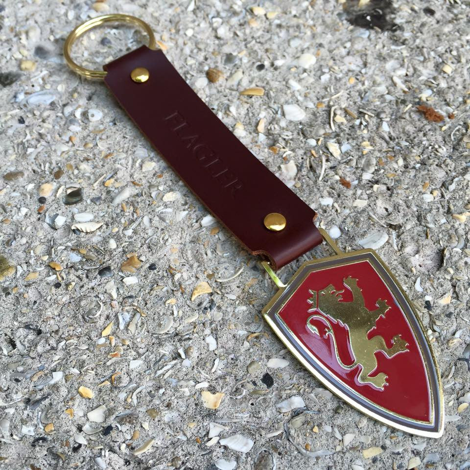 Leather Strap Shield Keychain