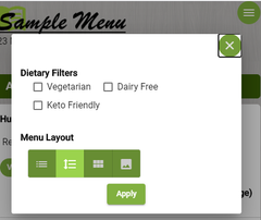 Digital menu user options