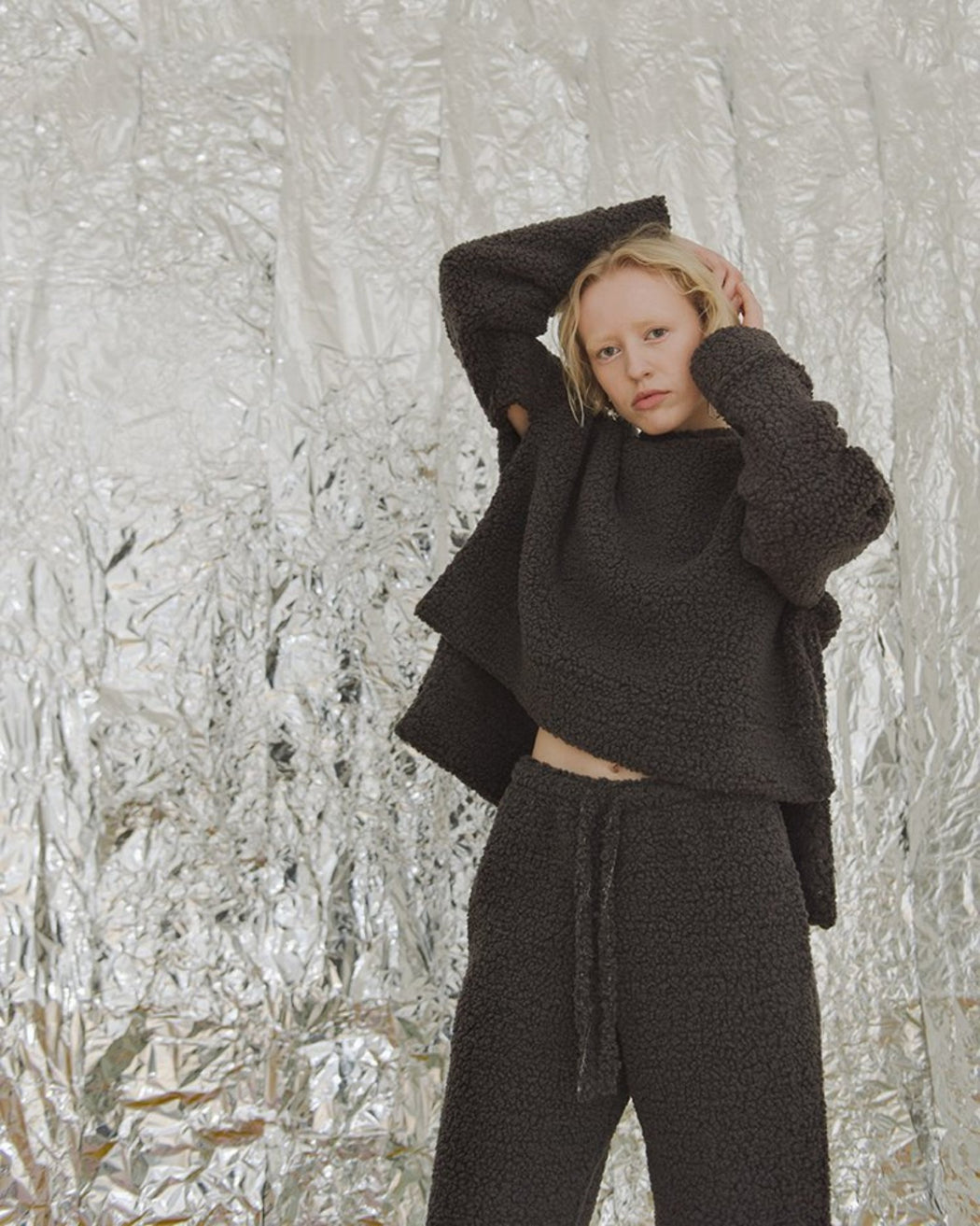PRIORY:Bruna Sweater – Smoke Sherpa,ANOMIE