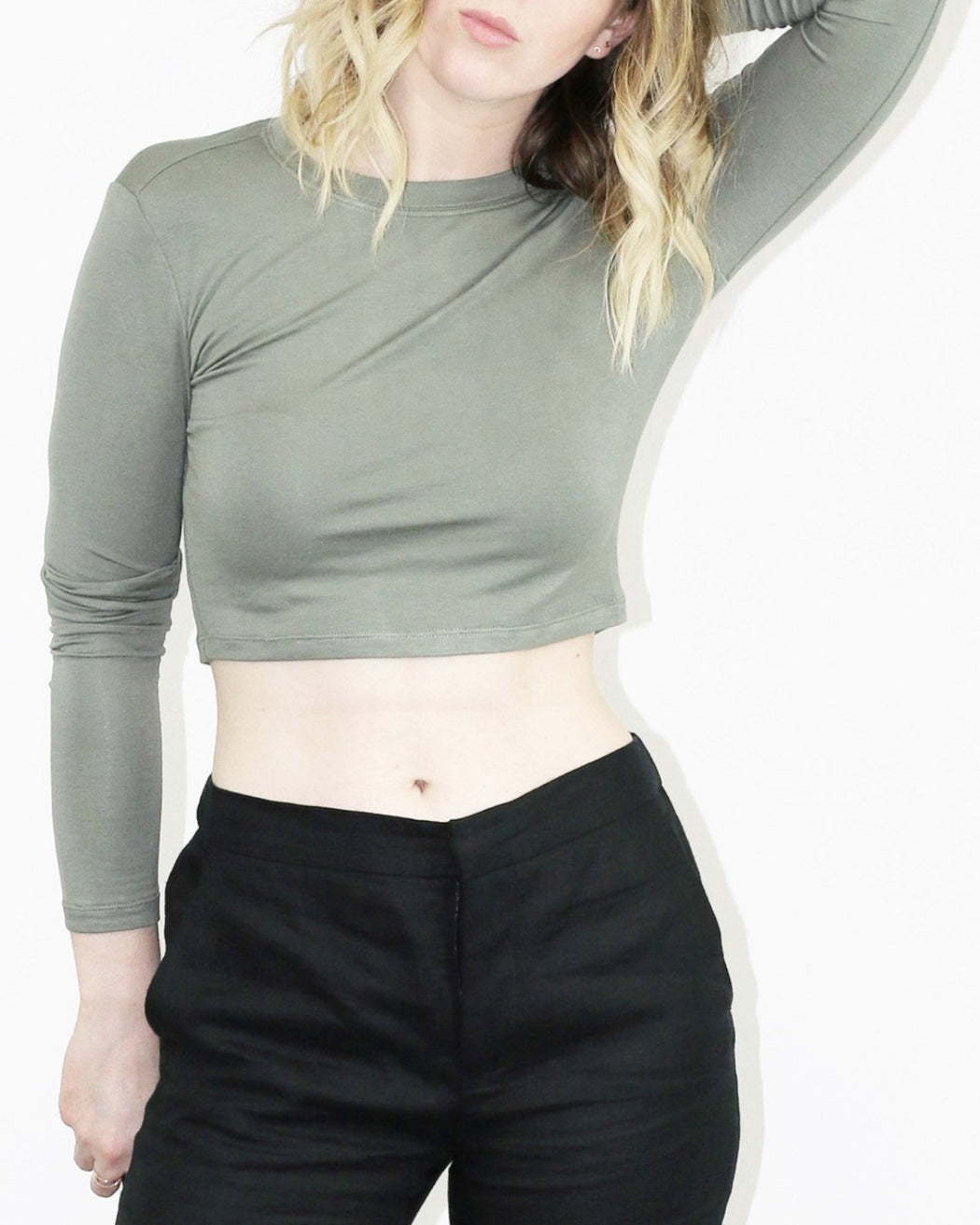BLQ:cropped long sleeve top,MOSS / XS/S