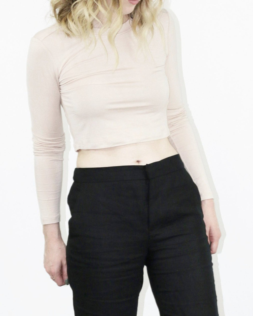 BLQ:cropped long sleeve top,ROSE CREAM / XS/S