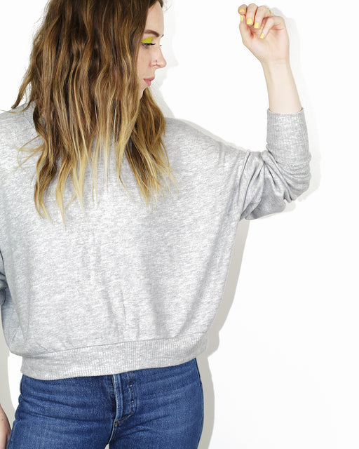 Beautiful People:Brushed Jersey Cropped Sweatshirt – Heather Grey,ANOMIE
