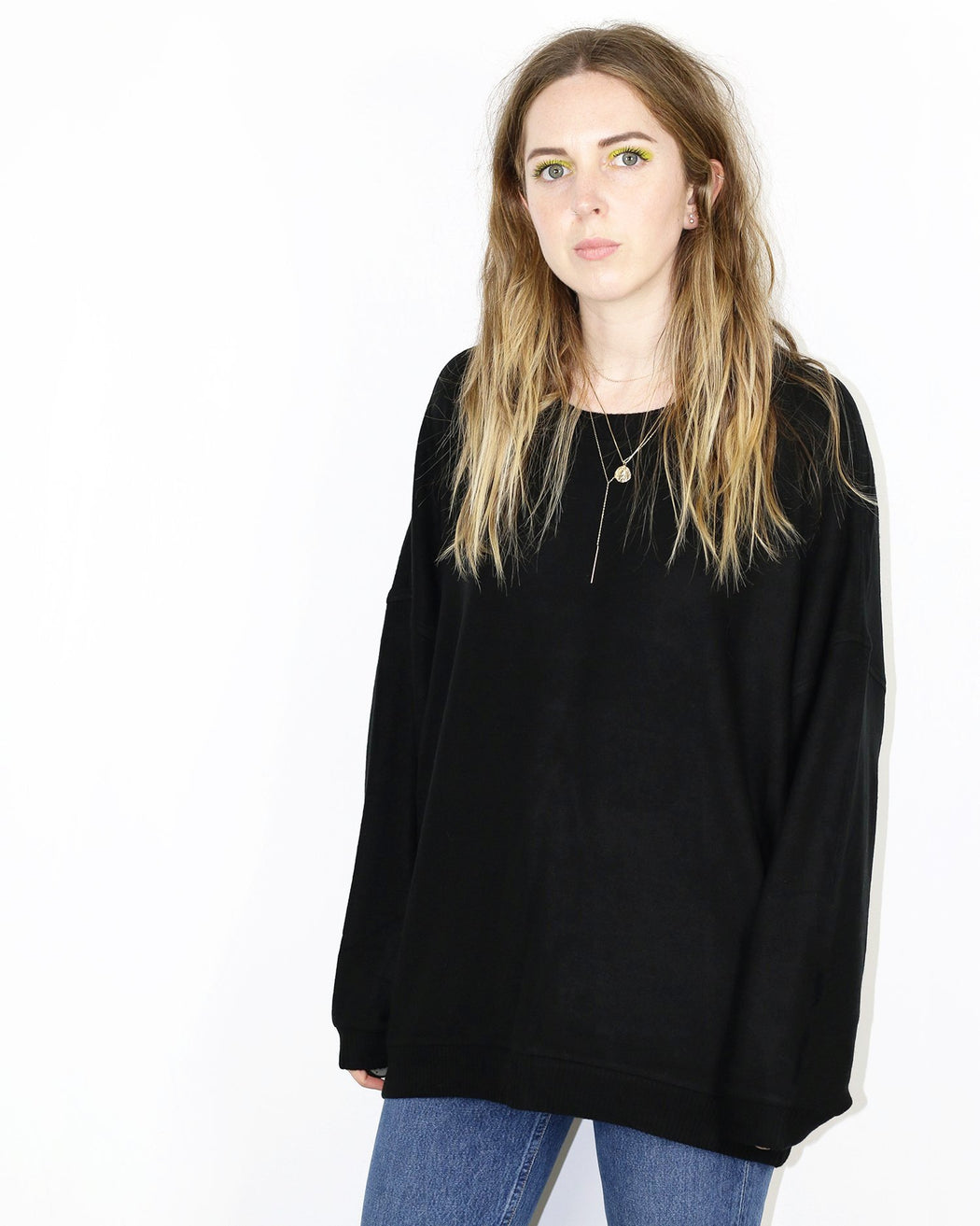 Beautiful People:Brushed Jersey Oversized Sweatshirt – Black,ANOMIE