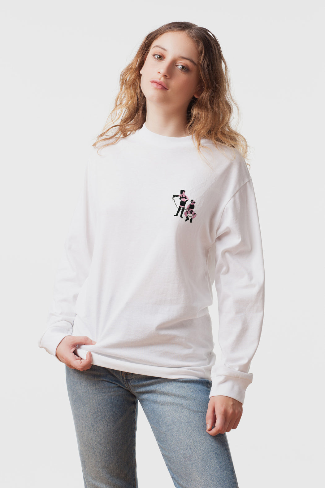 Carne Bollente:Tie Me If You Can – Embroidered Long Sleeve T-Shirt,ANOMIE