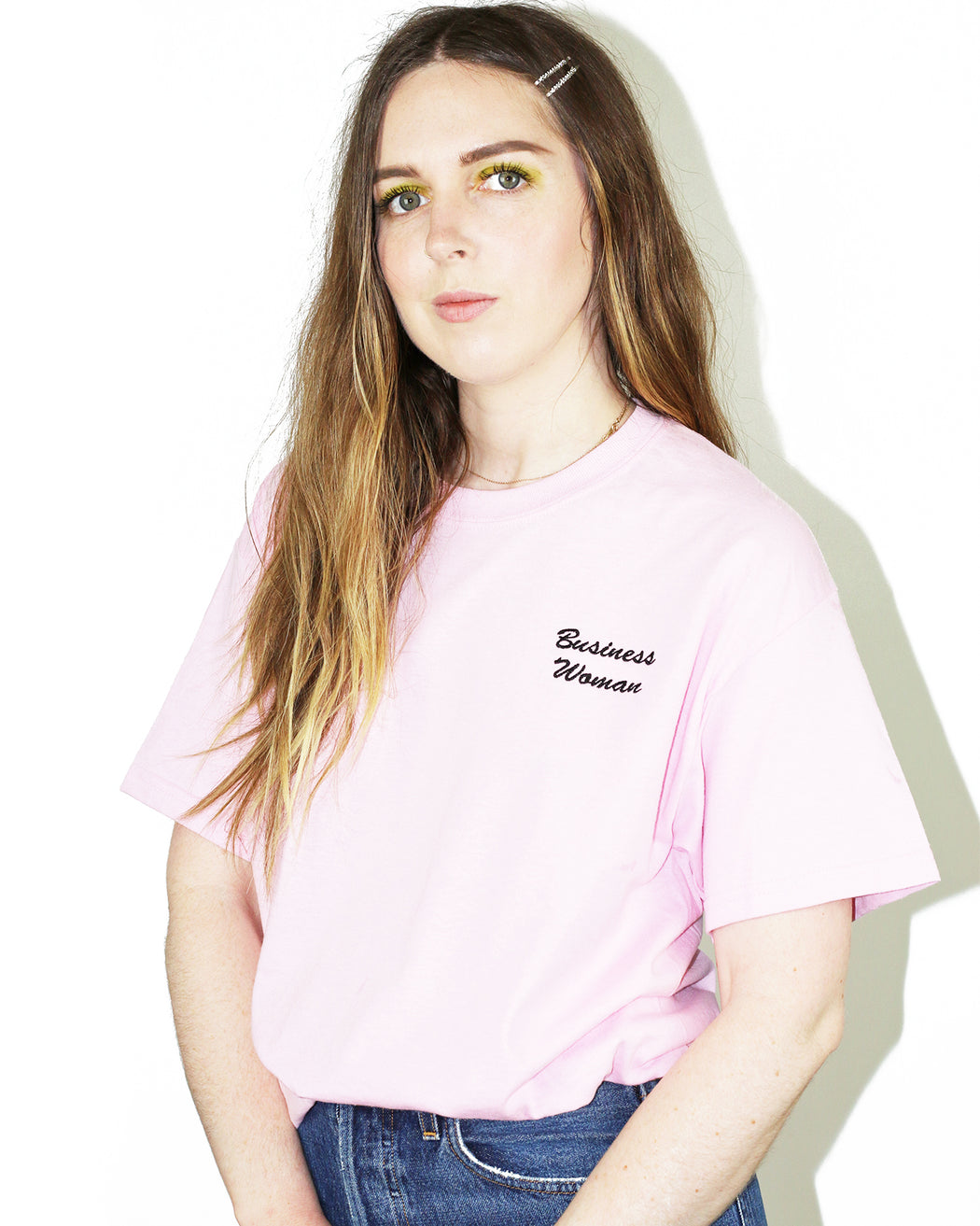 Double Trouble Gang:Business Woman Tee – Black on Pink Embroidery,ANOMIE
