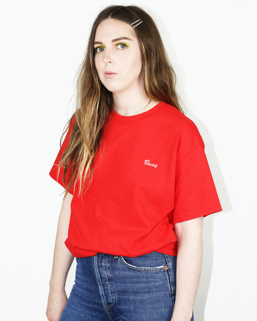 83c504e485 Busy Tee – White on Red Embroidery · Double Trouble Gang