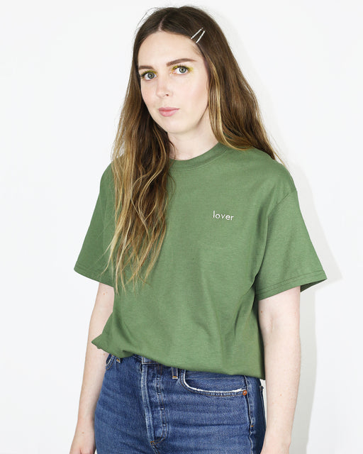 Double Trouble Gang:Lover Tee – White on Green Embroidery,ANOMIE