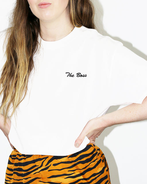Double Trouble Gang:The Boss Tee – Black on White Embroidery,ANOMIE