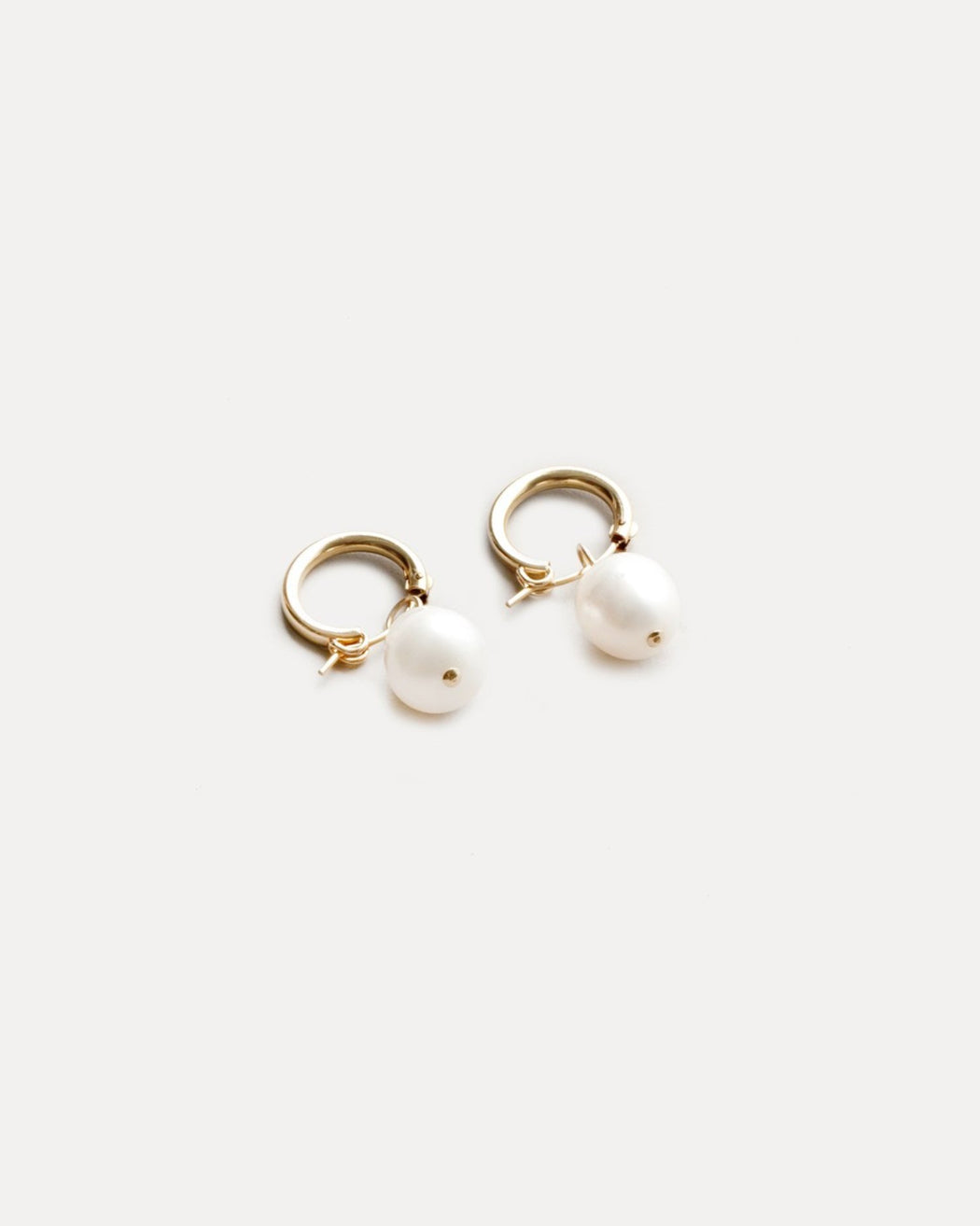 Small Pearl Hoops – Gold Plated