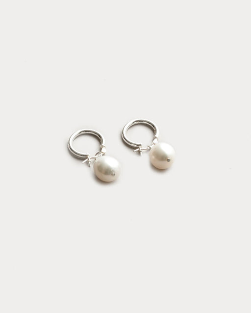 Small Pearl Hoops – Sterling Silver
