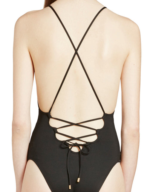 Noir Laced Back One Piece