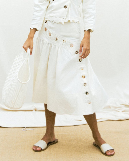 House of Sunny:Rustic Button Down Skirt – Sand,ANOMIE