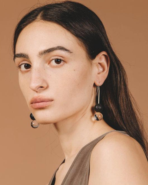 Dune Earrings – Clear and Black Lava