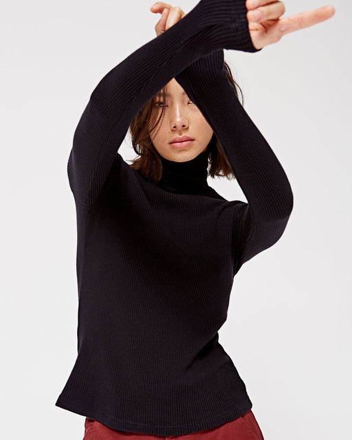 LACAUSA:Rib Turtleneck Sweater – Tar,ANOMIE