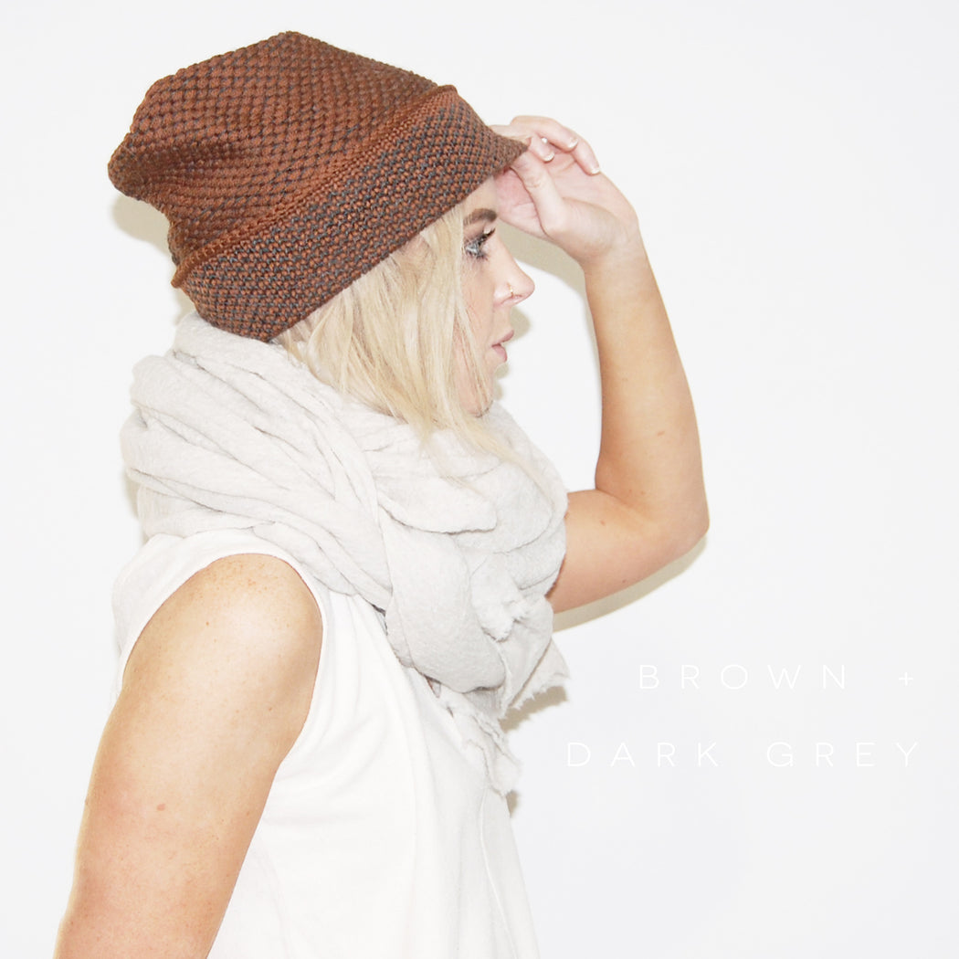 Kordal:Seed Stitch Beanie,brown + dark grey